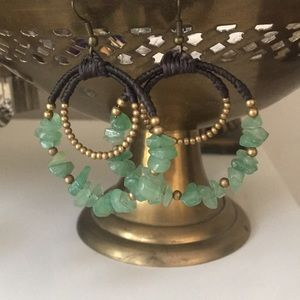 Jewelry - Stone Hoop Earrings